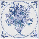 Плитка Johnson Tiles Minton Hollins Англия Белый Декор BCTILES0006238 DLI10 Delft blue/white decorative inset tile 150x150mm