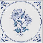 Плитка Johnson Tiles Minton Hollins Англия Белый Декор BCTILES0006239 DLI11 Delft blue/white decorative inset tile 150x150mm
