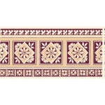 Плитка Johnson Tiles Minton Hollins Англия Бордовый Бордюр BCTILES0004260 BTCE4B Beatrice maroon border tile 150X75mm